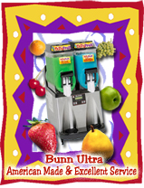 Bunn Ultra 1 and Ultra 2 regular or HP are American Made daiquiri, granita, slush, smoothie, frozen drink machines.  Excellent for the ChillyFruit Nationwide leasing program with the LOW MONTHLY PAYMENTS